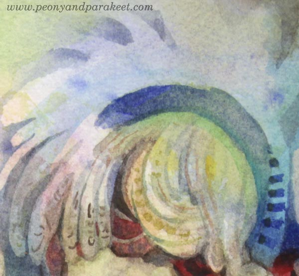 "A detail of ""Mirimer"" - a watercolor fairy by Paivi Eerola of Peony and Parakeet."