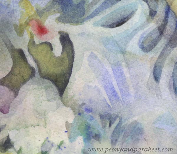 "A detail of ""Mirimer"" - a watercolor painting by Paivi Eerola of Peony and Parakeet."