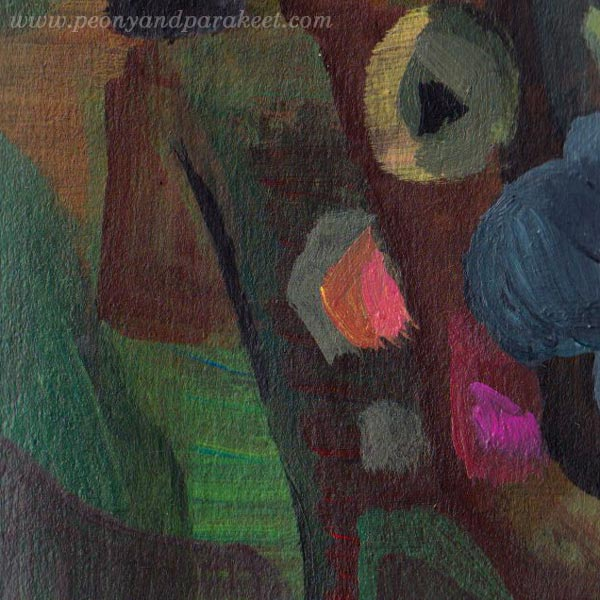 "A detail of ""Pinkpolka"" - an abstract painting by Paivi Eerola of Peony and Parakeet."