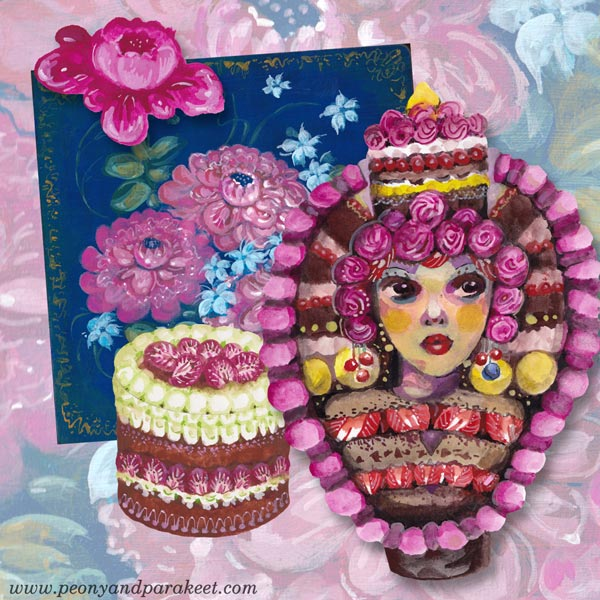 Art for the class Decodashery. Paint flowers, lace, cakes, and omaginary people called Decodollies! By Paivi Eerola of Peony and Parakeet.