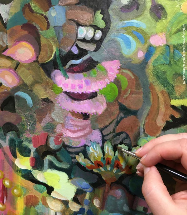 Painting an artistic spirit. An acrylic painting in progress. By Paivi Eerola of Peony and Parakeet.