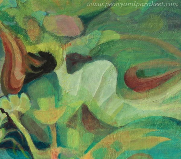 "A detail of ""Paradise"", an acrylic painting by Paivi Eerola of Peony and Parakeet."