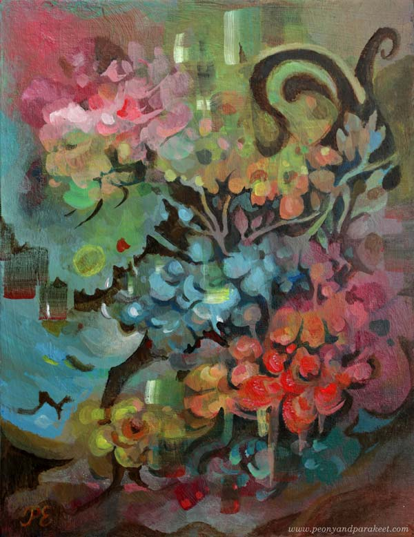 """Deer to Dream"" - an acrylic painting by Paivi Eerola of Peony and Parakeet."