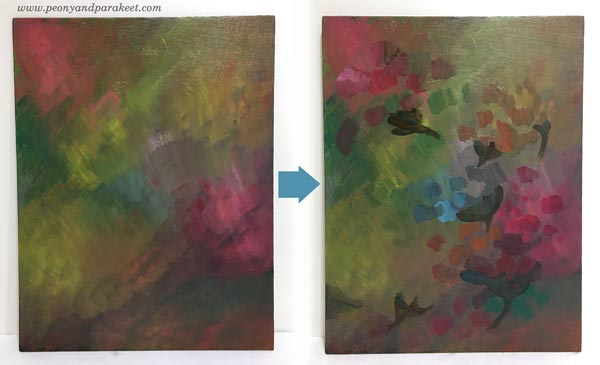 Intuitive painting step by step - Step 2. By Paivi Eerola of Peony and Parakeet.