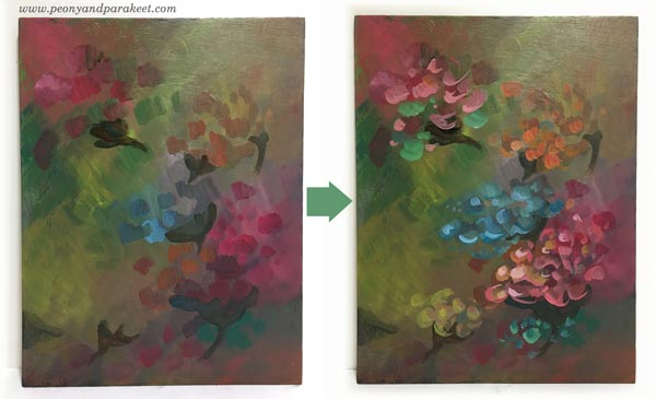 Intuitive painting step by step - Step 3. By Paivi Eerola of Peony and Parakeet.