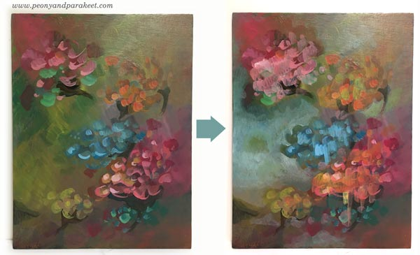 Intuitive painting step by step - Step 4. By Paivi Eerola of Peony and Parakeet.