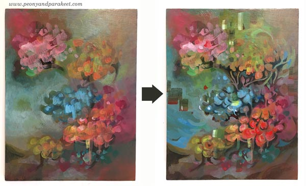 Intuitive painting step by step - Step 5. By Paivi Eerola of Peony and Parakeet.