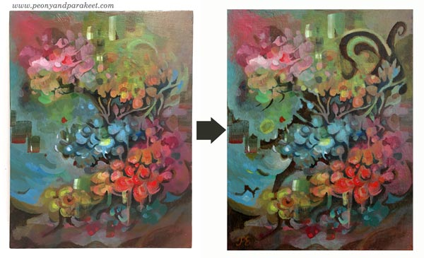 Intuitive painting step by step - Step 6. By Paivi Eerola of Peony and Parakeet.
