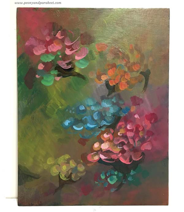 Intuitive painting in progress - Step 3. By Paivi Eerola of Peony and Parakeet.