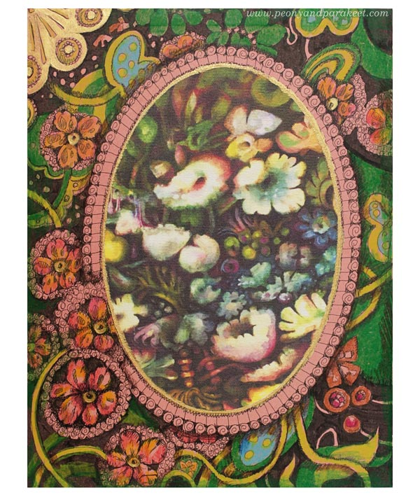 Pretty art journaling. An inner cover of a pretty art journal. By Peony and Parakeet.