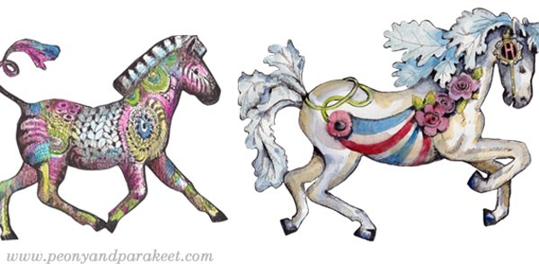 A colorful zebra and a fantasy horse. By Paivi Eerola of Peony and Parakeet.