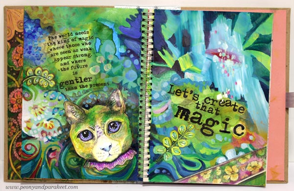 Adding text to art journal pages by Peony and Parakeet. Using alcohol ink with printed text blocks.
