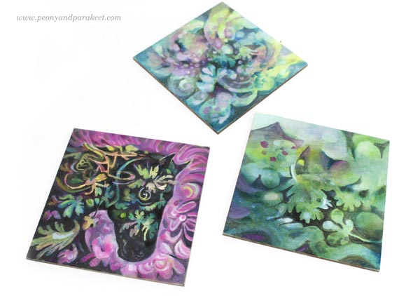 Working on small paintings on Ampersand Gessoboard Panels. By Paivi Eerola of Peony and Parakeet.