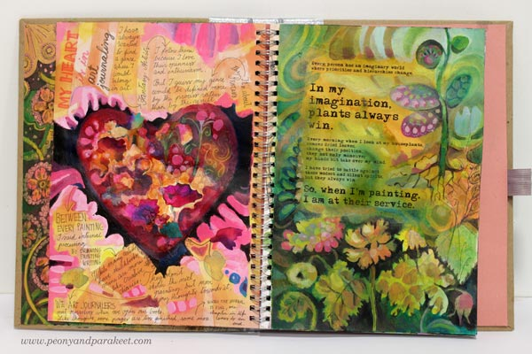 Adding text to art journal pages by Peony and Parakeet.