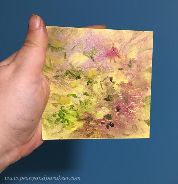 The beginning of a miniature painting. By Paivi Eerola of Peony and Parakeet.