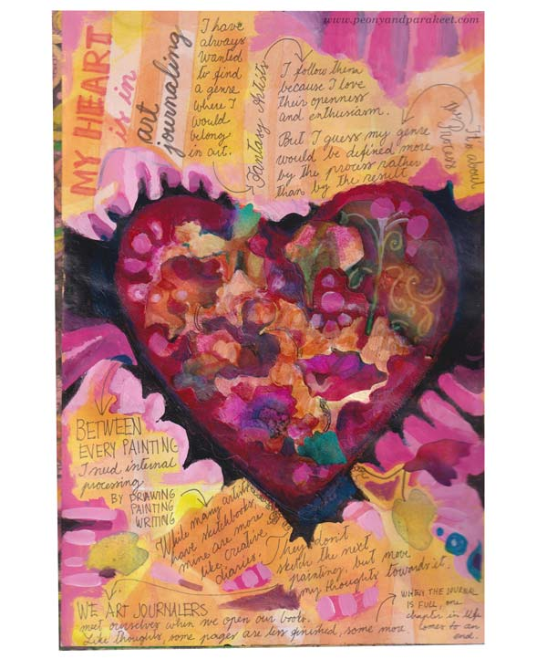 Handwritten text on an art journal page. By Paivi Eerola of Peony and Parakeet.
