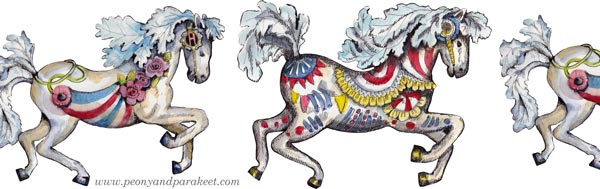 Small horse drawings by Paivi Eerola of Peony and Parakeet.