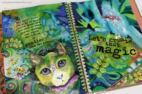 Magical art journal spread by Paivi Eerola of Peony and Parakeet.