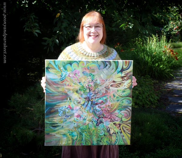 "Paivi Eerola and her intuitive fantasy painting ""Arotuuli / Steppe Wind."""