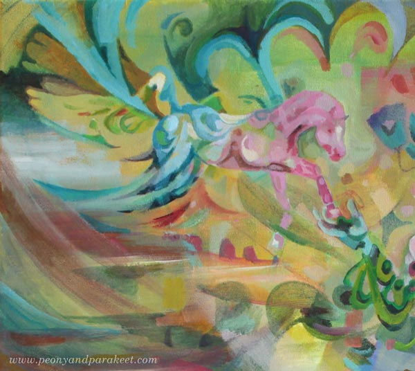 "A detail of ""Arotuuli / Steppe Wind"", an acrylic painting by Paivi Eerola of Peony and Parakeet. This painting has three horses."