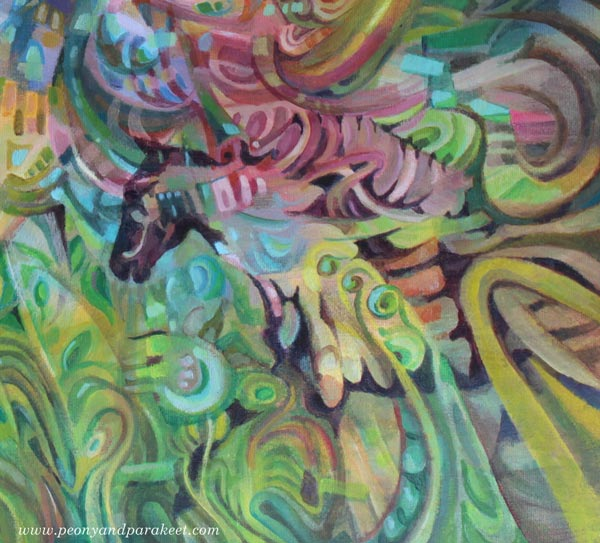 "A detail of ""Arotuuli / Steppe Wind"", an acrylic painting by Paivi Eerola of Peony and Parakeet."