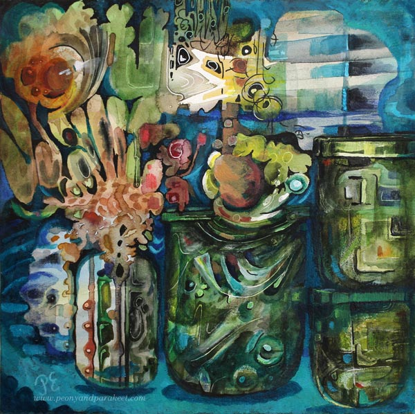 """Song of Glass"", a mixed media painting by Paivi Eerola of Peony and Parakeet. See how she revamped an old busy mixed media piece and made this!"
