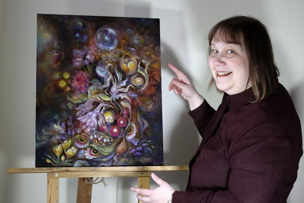 Artist Paivi Eerola and her painting Living Treasure.