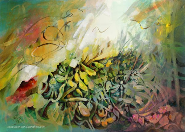 Auringon kutsu - Call of the Sun, an acrylic painting by Paivi Eerola of Peony and Parakeet.