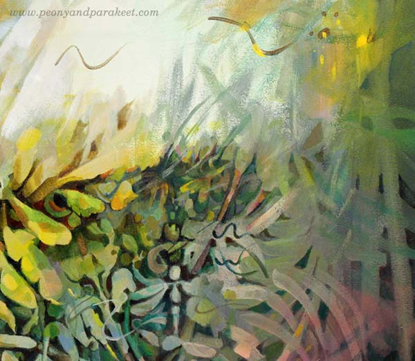 A detail of Call of the Sun, an acrylic painting of Paivi Eerola of Peony and Parakeet.