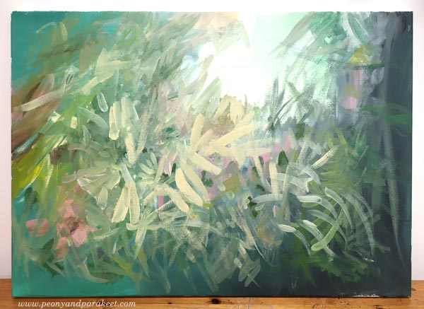 Acrylic painting in progress. By Paivi Eerola of Peony and Parakeet.