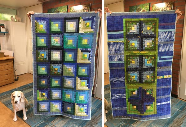 A log cabin dog quilt. Crafting as a hobby by Paivi Eerola of Peony and Parakeet. Read her thoughs about fine artists, craft artists, and crafting.