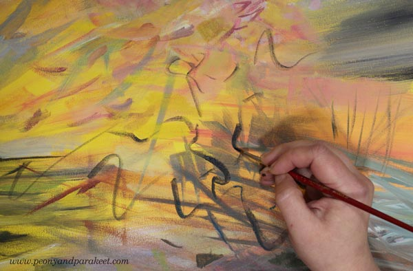 Painting a half-abstract landscape inspired by a poem. By Paivi Eerola of Peony and Parakeet.