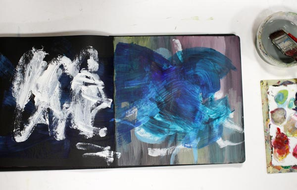 Messy background on an art journal