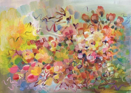 Flying Bouquet. A floral abstract painting by Paivi Eerola of Peony and Parakeet.
