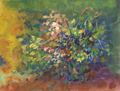 Impressionistic Stillife. A floral abstract painting by Paivi Eerola of Peony and Parakeet.