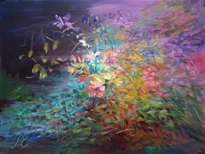 Flowering Earth. A floral abstract painting by Paivi Eerola of Peony and Parakeet.