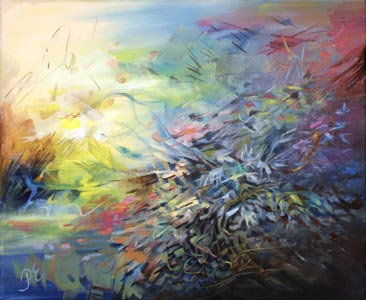 Cornflower Night. A floral abstract painting by Paivi Eerola of Peony and Parakeet.