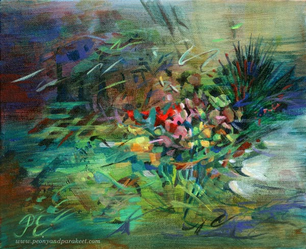 Mennyt tulee takaisin - Past Comes Back, an acrylic painting by Paivi Eerola of Peony and Parakeet. Watch how she creates this in a video. See her examples of painting poems!