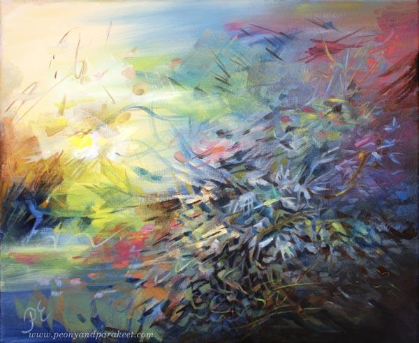 Ruiskukkaehtoo - Cornflower Night - an acrylic painting by Paivi Eerola of Peony and Parakeet.