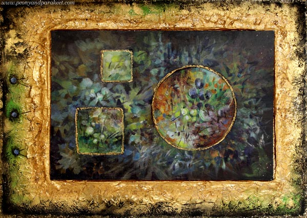 Old Art Yearning, an acrylic painting by Paivi Eerola. She has used structure paste to make reliefs and a frame.