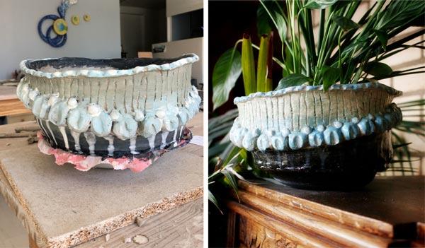 Ceramic handmade flower pot.