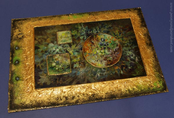 Old Art Yearning, an acrylic painting by Paivi Eerola. The frame and the reliefs are made of structure paste.