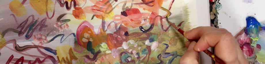 Painting a floral abstract. By Paivi Eerola of Peony and Parakeet.