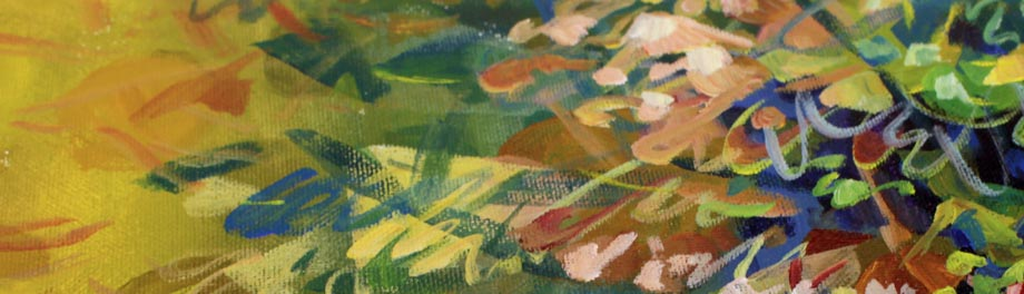 A detail of an acrylic painting by Paivi Eerola of Peony and Parakeet.