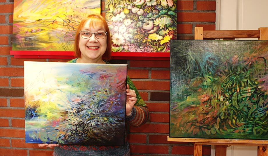 Artist Paivi Eerola of Peony and Parakeet and her paintings.