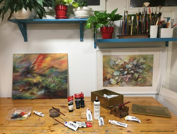 A view to the studio of Paivi Eerola of Peony and Parakeet.