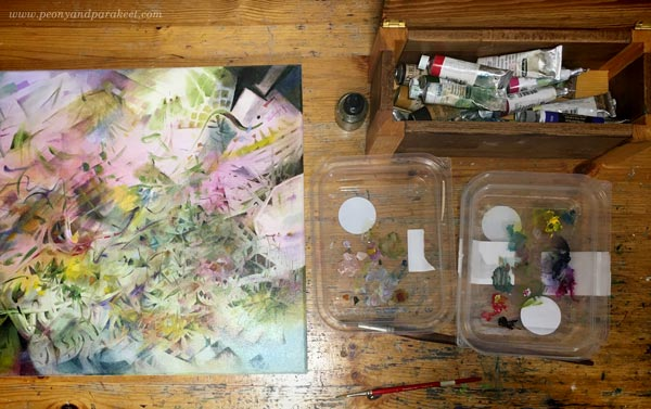 Oil painting in progress. Paints and palettes. By Paivi Eerola of Peony and Parakeet.