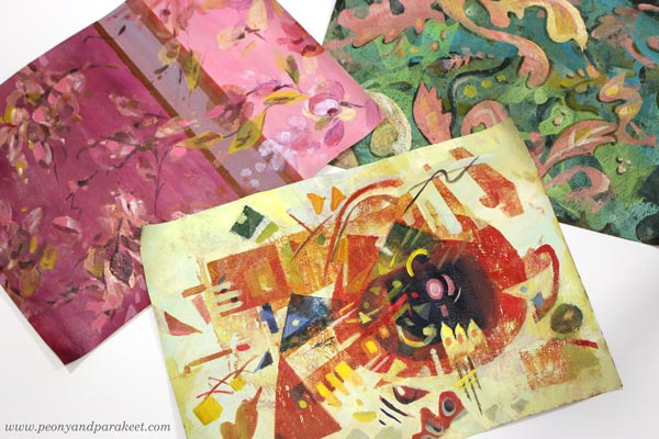 Three different design styles, monoprinting with a Gelli plate. By Paivi Eerola of Peony and Parakeet.
