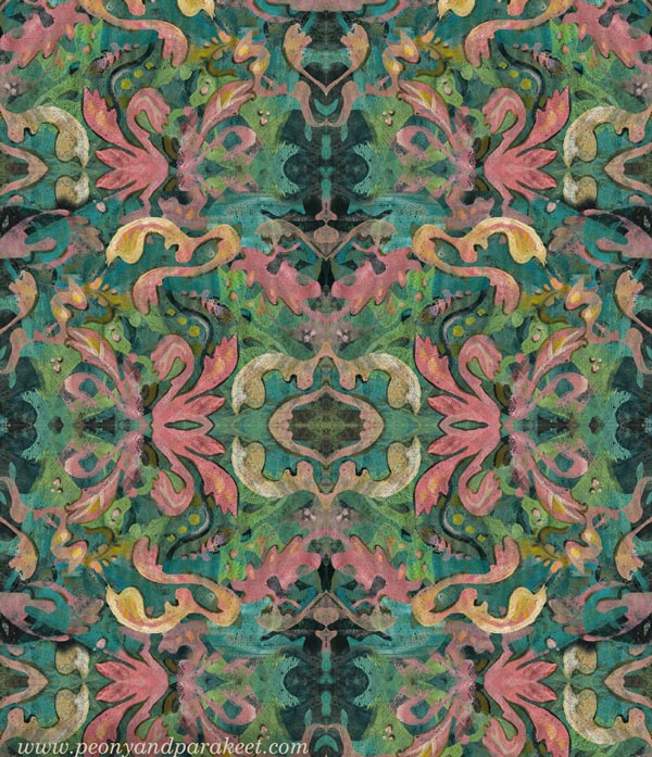 A sketch for a surface design by Paivi Eerola of Peony and Parakeet.