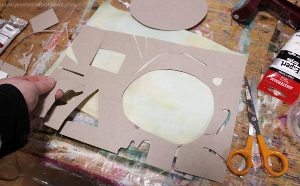 Making a template for monoprinting. By Paivi Eerola of Peony and Parakeet.